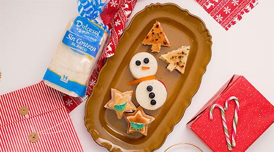 Canapés navideños con pan Dulcesol