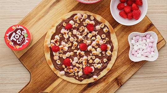 Pizza de chocolate con Top Cao